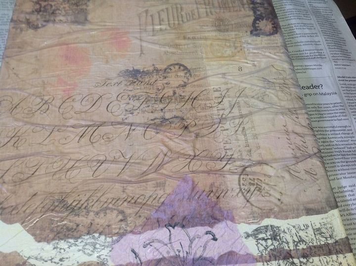 q can anyone help me with advice on using vellum paper and mod podge, crafts, decoupage, how to, Granted it is still wet but you can see the wrinkles Any tips