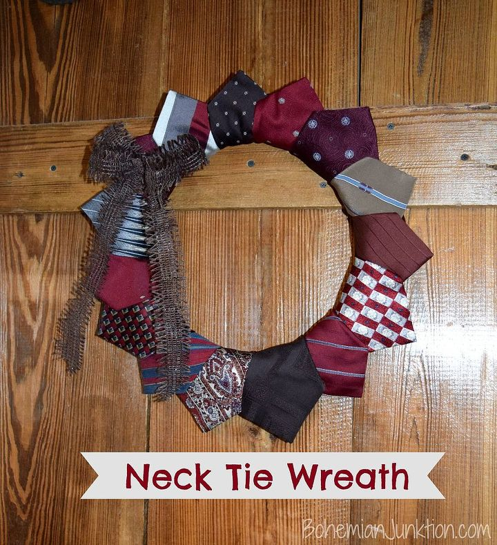 neck tie wreath, crafts, how to, repurposing upcycling, wreaths