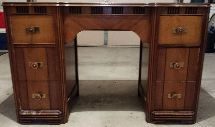 old art deco style vanity becomes a desk hometalk