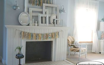 shabby chic fireplace mantel with painted tiles, fireplaces mantels, painting, shabby chic, tiling