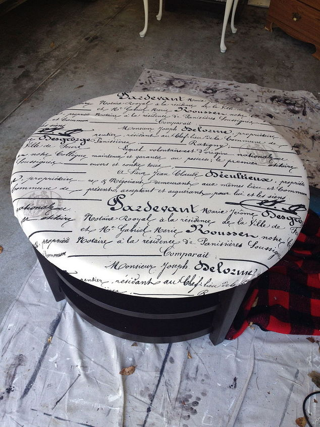 round coffee table turns into tufted ottoman, painted furniture, reupholster