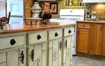 kitchen cabinet island makeover, decoupage, kitchen design, kitchen island, painted furniture, repurposing upcycling