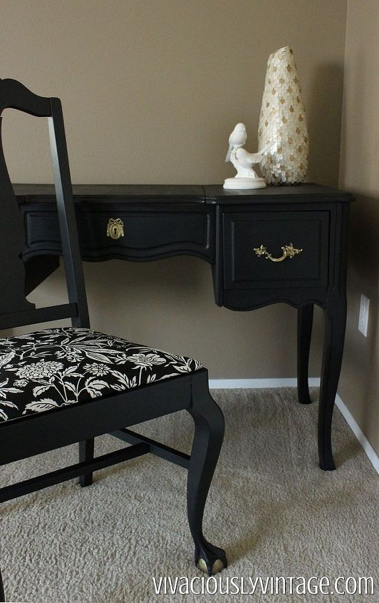 coral and black painted french provincial vanity, painted furniture, repurposing upcycling, reupholster
