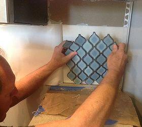 arabesque blue tile backsplash using an adhesive mat how to kitchen backsplash kitchen arabesque blue tile backsplash using an adhesive mat   hometalk  rh   hometalk com