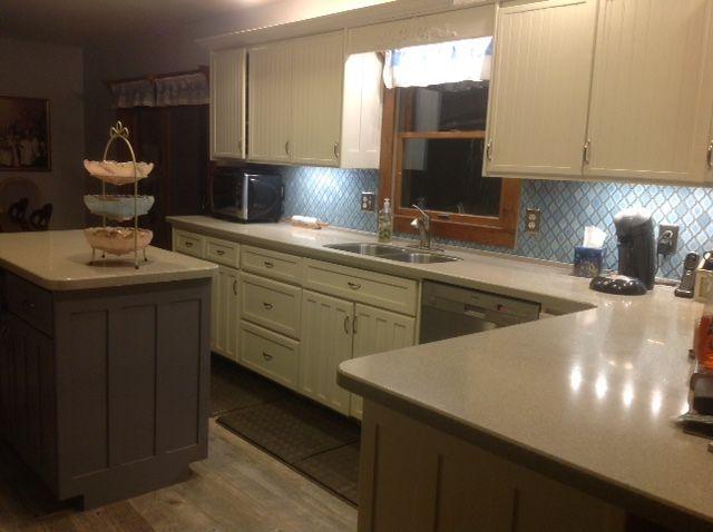arabesque blue tile backsplash using an adhesive mat, how to, kitchen backsplash, kitchen design