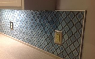arabesque blue tile backsplash using an adhesive mat, how to, kitchen backsplash, kitchen design