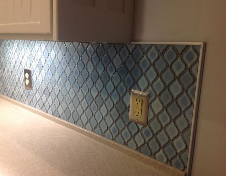 Arabesque Blue Tile Backsplash Using An Adhesive Mat How To Kitchen