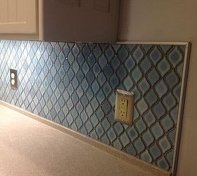 Arabesque Blue Tile Backsplash Using An Adhesive Mat, How To, Kitchen  Backsplash, Kitchen