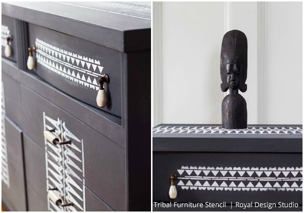 tribal stencil transformation a dated 1940 s dresser gets an update, chalk paint, painted furniture