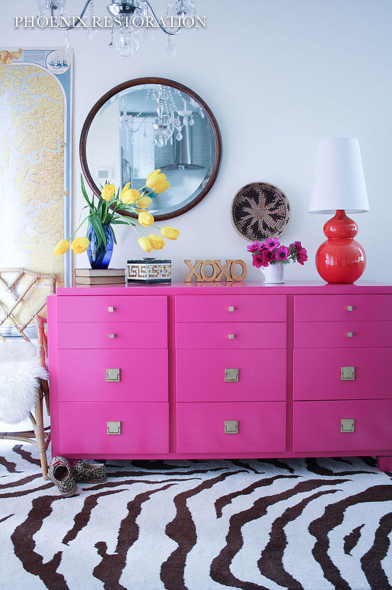 hot pink american of martinsville dresser buffet, painted furniture, repurposing upcycling
