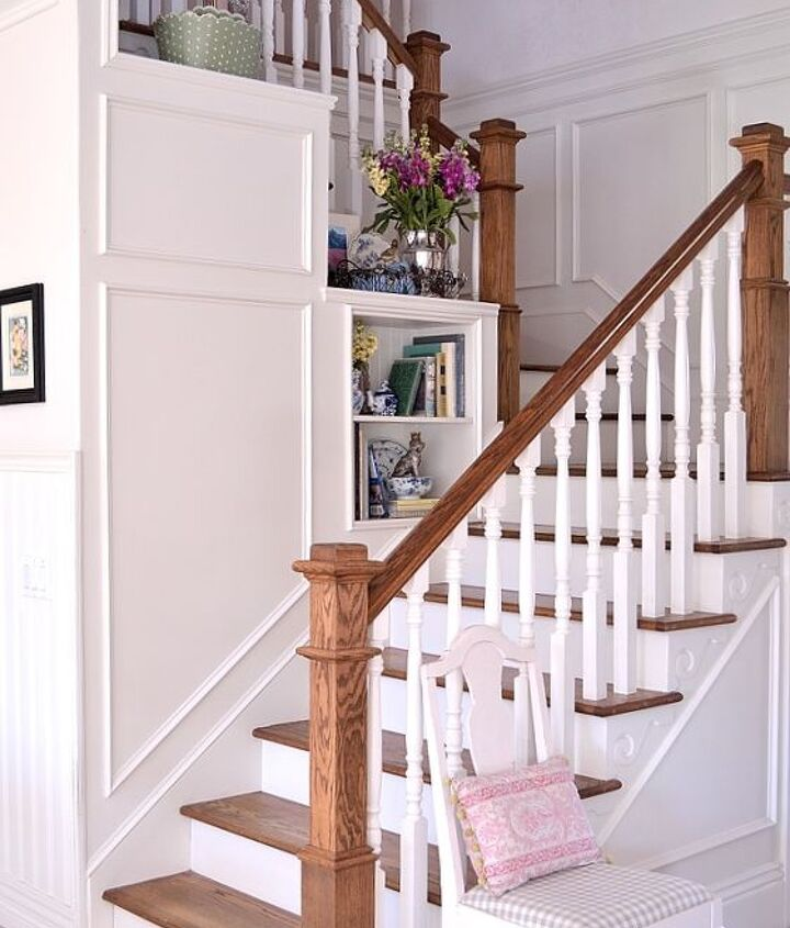 before after transforming a boring staircase, home improvement, painting, stairs