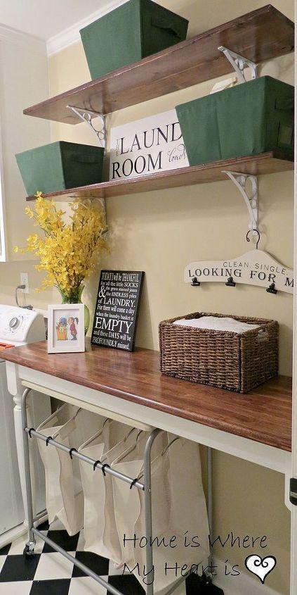 blah to charming laundry room, flooring, laundry rooms, shelving ideas, wall decor