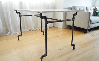 diy industrial pipe dining table, dining room ideas, diy, painted furniture, repurposing upcycling