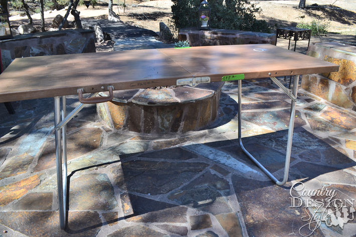 ugly metal folding table gets freshen up then redistressed with trim, painted furniture