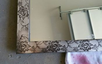 drab mirror to fab lace mirror, bathroom ideas, how to, painted furniture