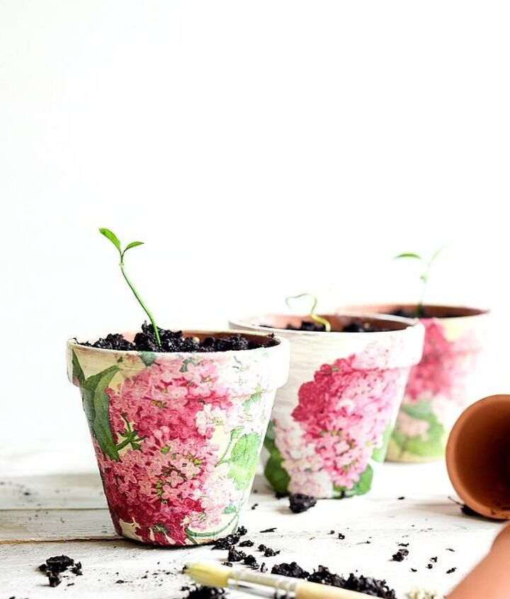 decoupaged terra cotta pots, container gardening, crafts, decoupage, gardening, home decor, how to