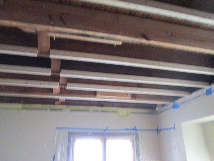 q paneling flooring on a ceiling good or bad idea, home improvement, home maintenance repairs, wall decor, Dining room post leak upstairs with rafter repair and leveling