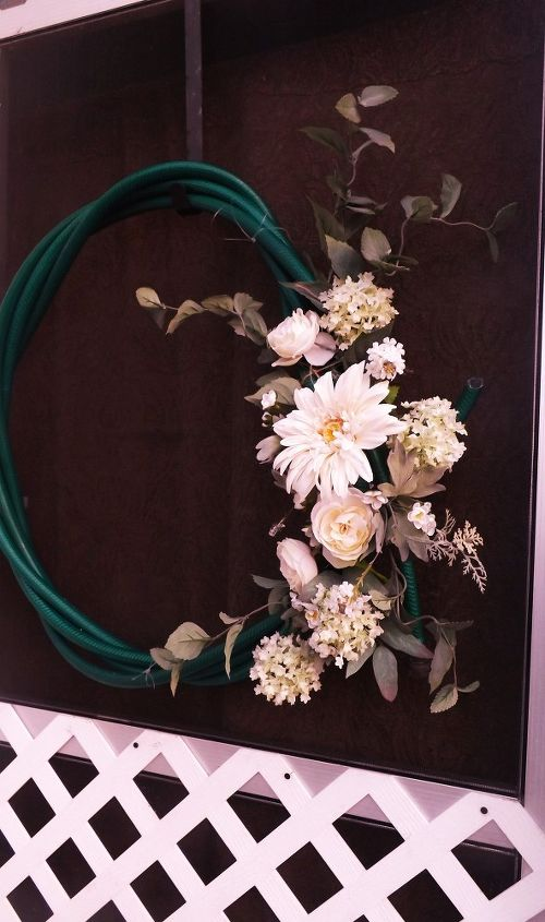 a garden hose wreath crafted for 2, crafts, gardening, repurposing upcycling, wreaths