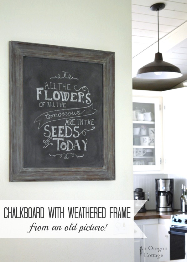 how to create a large chalkboard from a framed picture, crafts, how to, repurposing upcycling, wall decor