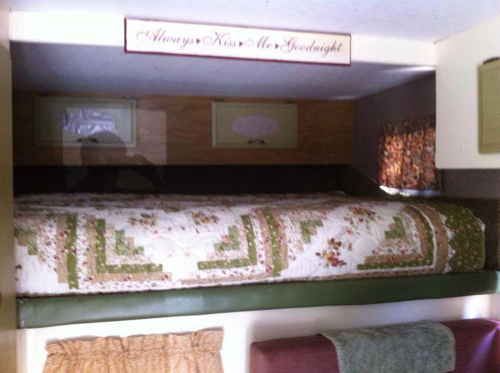 old cab over camper make over, home decor