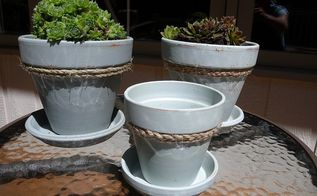 giving plain clay pots a beachy makeover, crafts, gardening, how to, repurposing upcycling