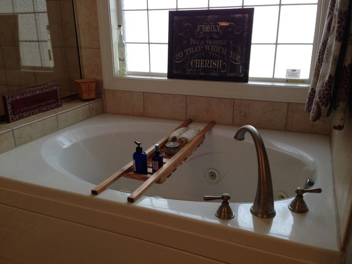 bathtub caddy enjoy a little luxury at home for under 20 dollars, bathroom ideas, how to, woodworking projects, My wife always adds a touch of elegance