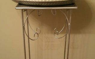 old black stand to silver beauty products holder, bathroom ideas, painted furniture, repurposing upcycling