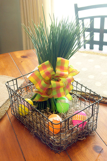 Bright and cheerful industrial easter basket centerpiece hometalk bright and cheerful industrial easter basket centerpiece crafts dining room ideas easter decorations negle Images
