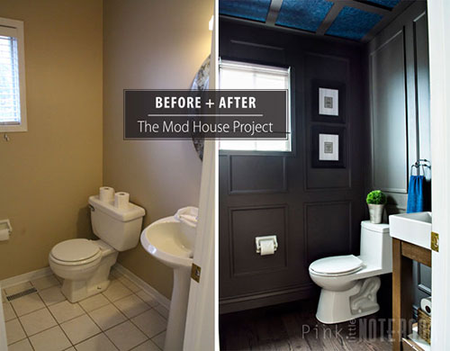Reveal dated powder room gets a moody makeover hometalk reveal dated powder room gets a moody makeover bathroom ideas small bathroom ideas teraionfo