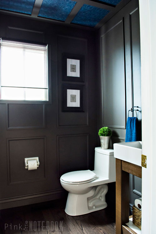 Reveal dated powder room gets a moody makeover hometalk for Corporate bathroom ideas