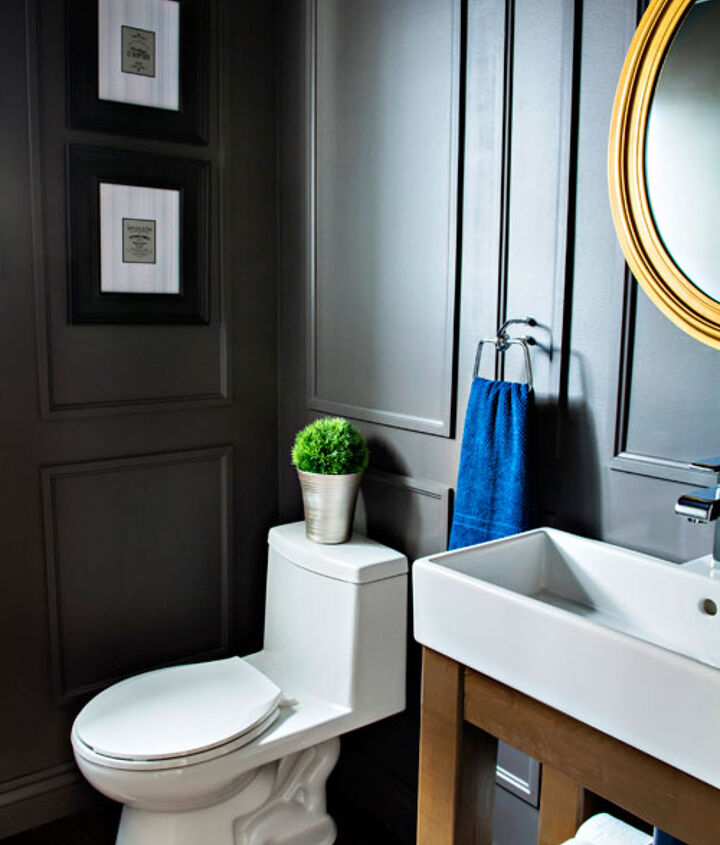 reveal dated powder room gets a moody makeover, bathroom ideas, small bathroom ideas, wall decor