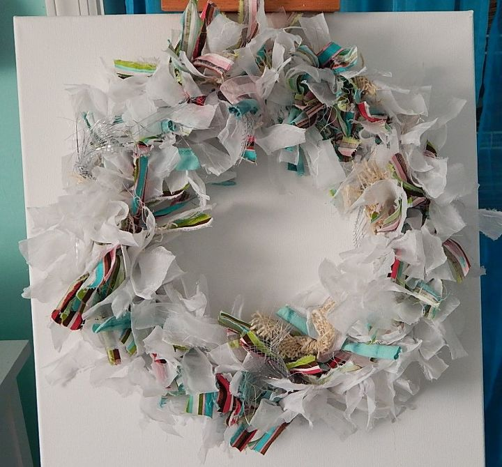 repurposed rag wreath from old shirts and curtains, crafts, how to, repurposing upcycling, wreaths