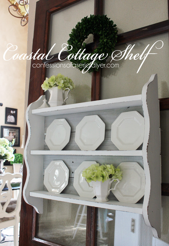 coastal cottage shelf using old fence pickets, fences, painted furniture, repurposing upcycling, shabby chic, shelving ideas