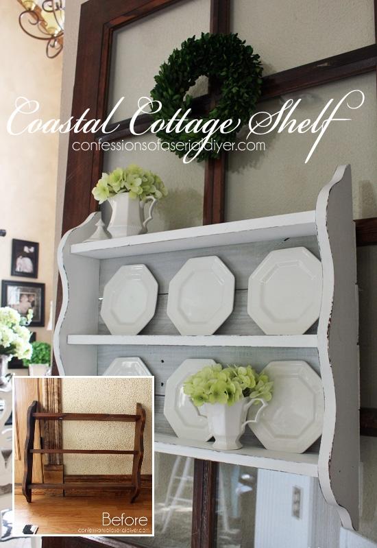 coastal cottage shelf using old fence pickets, fences, painted furniture, repurposing upcycling, shabby chic, shelving ideas