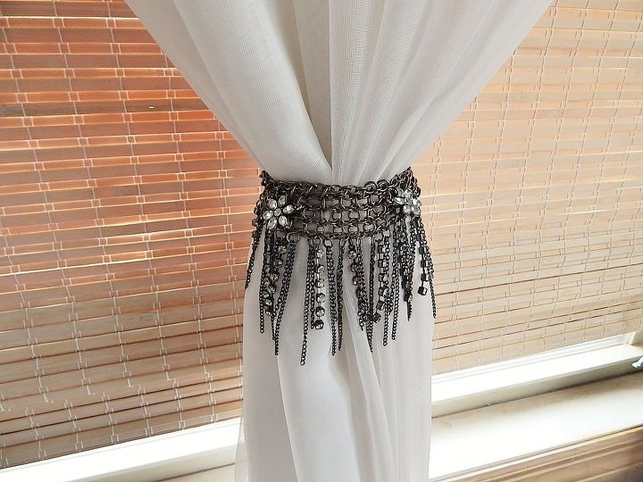 necklace to curtain tie back, repurposing upcycling, window treatments, windows