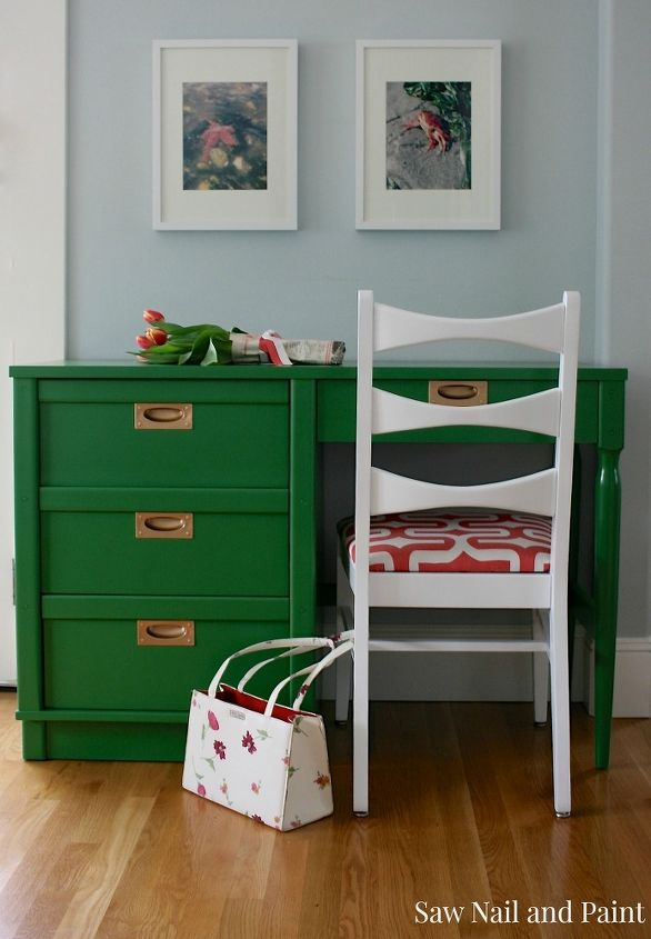 Hello Spring Kelly Green And C Midcentury Makeover Painted Furniture Reupholster