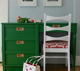 Kelly Green And Coral Midcentury Desk Makeover | Hometalk