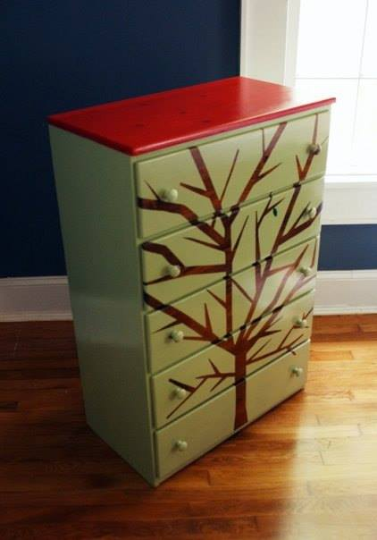 woodgrain tree silhouette chest of drawers, painted furniture