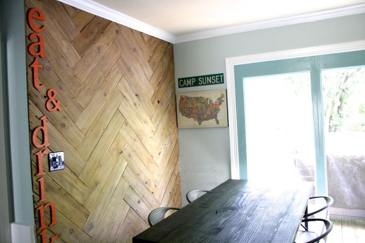 stunning herringbone plank wall upcycled from an old ugly fence, home decor, paint colors, repurposing upcycling, wall decor, woodworking projects