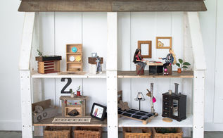 an upcycled dollhouse from wood scraps and thrift store finds, crafts, repurposing upcycling