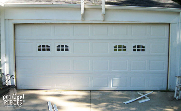 Diy faux stained wood garage door tutorial hometalk for Faux wood garage door prices