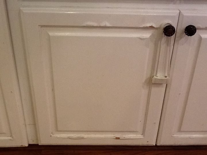 q water damage on press wood kitchen cabinets, home maintenance repairs, how to, kitchen cabinets, painting, Water damaged