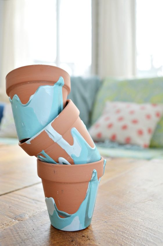 ombre drip flower pots, container gardening, crafts, gardening, how to