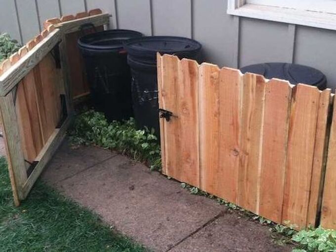 clever can camo 5 creative ways to hide your trash cans, gardening, kitchen cabinets, kitchen design, pallet, repurposing upcycling