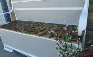 rose stained headboard bench, outdoor furniture, outdoor living, painted furniture, repurposing upcycling
