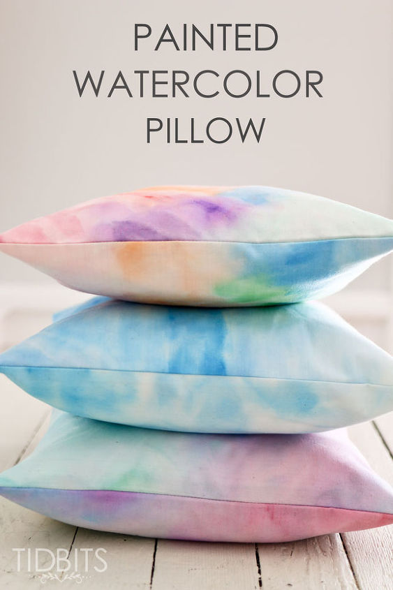how to watercolor paint on fabric and make it into a pillow, crafts, how to, reupholster