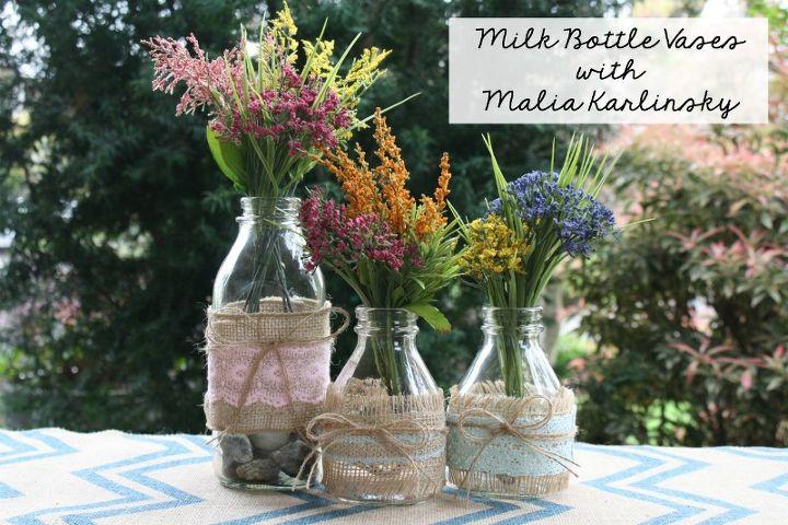 milk bottle vases spring flowers, crafts, flowers, gardening, repurposing upcycling