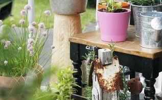 front porch herb garden, container gardening, gardening, homesteading, porches, repurposing upcycling