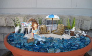 beach themed fairy garden, container gardening, gardening, repurposing upcycling