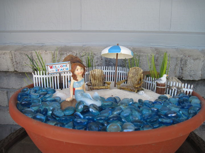 beach themed fairy garden container gardening gardening repurposing upcycling